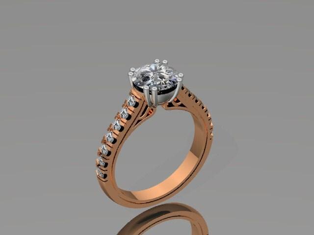 Platinum Engagement Ring Rose Gold Diamond By JewelryArtworkByVick