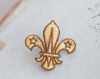 Scouts Badge - Brass Fleur de Lis Uniform Badge - Altered Arts assemblage