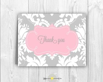 Printable Damask Thank you card pink and grey  -Glamyland