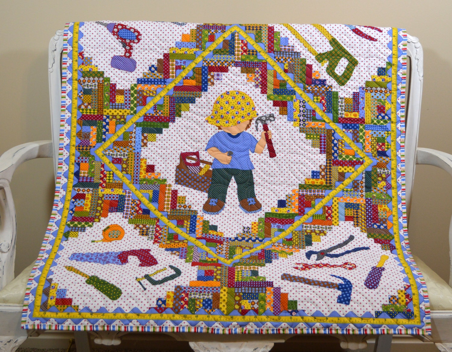 Boy Baby Construction Tool Quilt Crib Blanket Colorful Tool