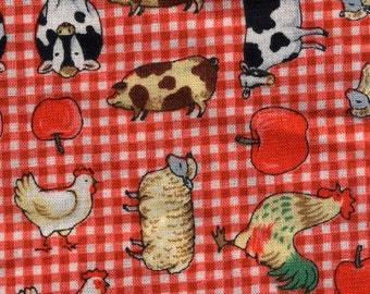 Per Yard Red Checks Barn Yard Chickens Novelty Fabric By Robert Kaufman/ for Quilting, Home Decor accents/Pillow/Arts Craft