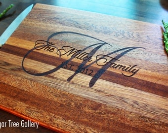 Personalized Cutting Board, Monogram Gift, Christmas Gift, Custom Name, Couples Gift, Anniversary Gift, Wedding Gift, Gift For Her, Womens