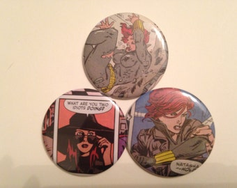 Black Widow/Natasha Romanoff Comic Book Button 3 pack