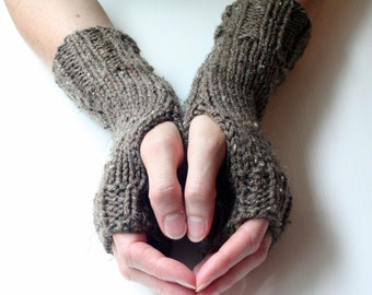 Fingerless Gloves, Brown Gloves, Knit Gloves, Fingerless Mittens, Wrist Warmers, Arm Warmers, Cozy Gloves, Warm Gloves, Hand Knitted G