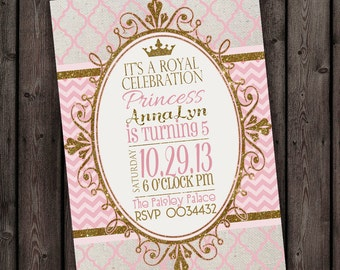 Princess invitation, fast ship! Royal princess party, customized wording