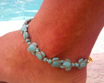 Turquoise & gold Swarovski crystal sea turtle  bracelet or anklet ! Sea turtle anklet !