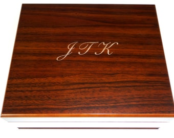 Personalized Humidor, The Duke 25-50 Cigar Routed Edge Humidor, Groomsman Gift
