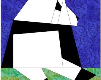 Panda Paper Piece Foundation Quilting Block Pattern