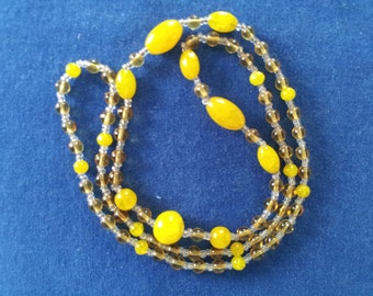 Vintage Amber and Clear Glass Bead 1920s Necklace
