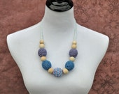 Teething Beads - Blue, Purple, and Lilac - Nursing Necklace