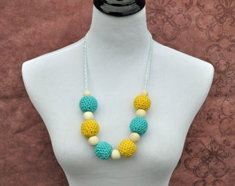 Nursing Necklace - Turquoise and Yellow - Breastfeeding