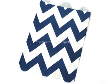 Chevron Favor Bags, 12 Navy Blue Chevron Gift Bags, Popcorn Bags, Favors, Candy Buffet Bags Candy Bags, Wedding, Baby Shower, Birthday