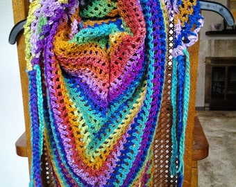 Rainbow Shawl / Rainbow Scarf