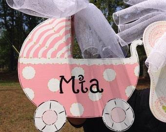 Baby carriage door hanger,Polk a dot pink baby hospital door hanger, Its a Girl,Personalized Baby door hanger ,hospital wreath,baby shower