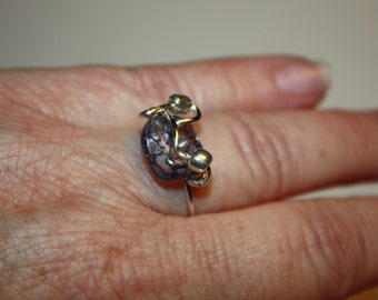 Ring, Sterling Ring, Botswana Agate Stone  Ring, Wire Wrap Ring