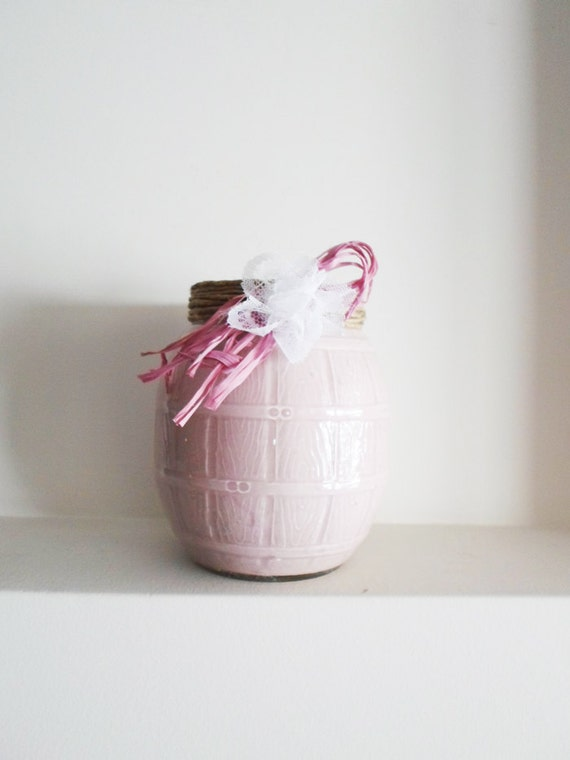 Glass jar decorative romantic vase and utensil holder with twine, lace ...