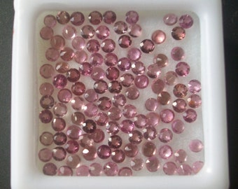 25 pcs each size Natural genuine PINK TOURMALINE (1.50 mm - 2 mm ) round top cut faceted gemstone.....