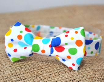 Baby / boy's bow tie, multi colored polka dots