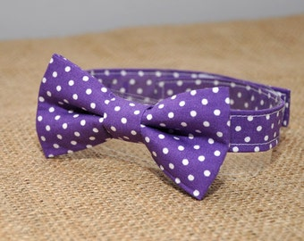 Baby / boy's bow tie, purple dots
