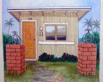 Little House & Seashell #6, original watercolor landscape painting