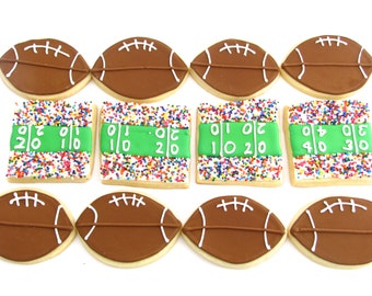 Football and Stadium Cookies-Perfect for a Football Party or Banquet-One Dozen Cookies