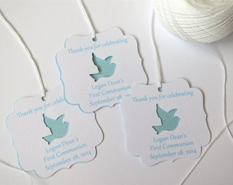 Blue Baptism favor tags, Boy first communion favor tags, Christening favor tags, Boys first Sacrament tags, Custom Baptism favor tags