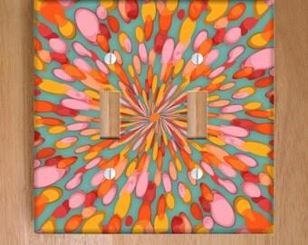 Confetti Burst Vinyl Double Light Switch Cover, Outlet Cover, Wallplate, Home Decor, Kids Room Decor, Colors, Dots, Splatter, Art, Vinyl
