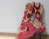 Reserved please do not buy Vintage Original Crochet Blanket, Crocheted Granny Throw, Vintage Bedding, Gipsy Style Throw