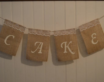Customizable Burlap Cake Sign, Wedding Cake Sign, Burlap Wedding Banner