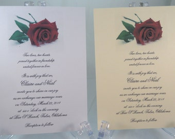 50 Rose in Snow Invitations for Weddings or any Occasion Customized for You