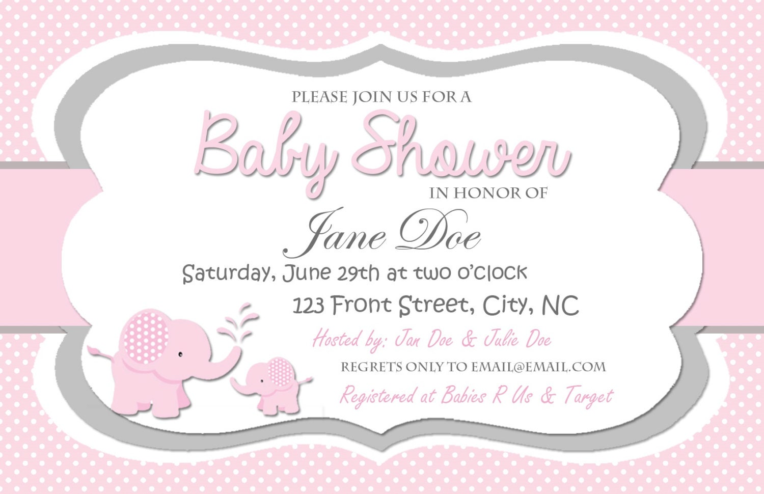 pink and grey elephant baby shower digital invitation polka