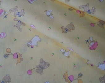 "Fat Quarter of Lecien Baby Shower Collection Fabric in Yellow. Approx. 18"" x 22"" Made in Japan"