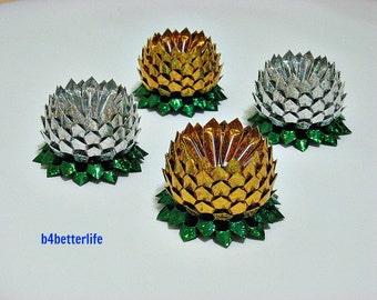 Lot of 4pcs Gold & Silver Colors Origami Lotus size Medium. (4D Glittering Paper Series). #FLT-16.