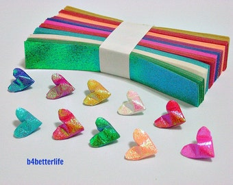 "250 Strips of Mini Size 3D Origami Hearts ""Love"" DIY Paper Folding Kit. (TX Paper Series)."