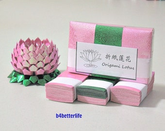 Pack Of 300 sheets Origami Lotus Paper Folding Kit for Making 3 pcs of Size Small Lotus (RS Paper Series)