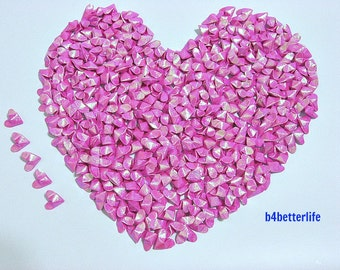 365pcs Pink Color Mini Size 3D Origami Hearts LOVE. (TX paper series). #FOH-127.