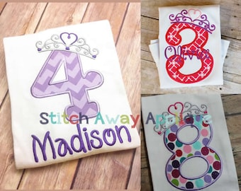 Princess Crown Number Set, Numbers 1-9, Machine Embroidery Applique Design