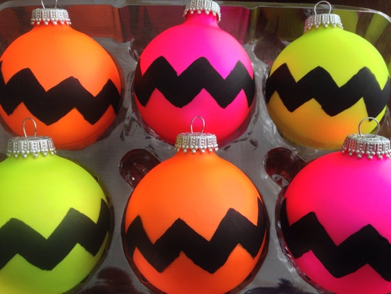 Hand painted chevron print neon ornaments