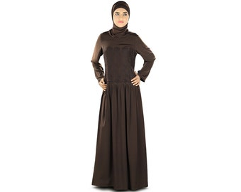 Decent Brown Abaya with Flower Net   AY-328   Brown Color   Muslim Dress   Islamic Clothing   Poly Crepe Fabric