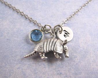Armadillo necklace, matte silver armadillo necklace, armadillo charm, armadillo pendant, friendship necklace, personalized necklace