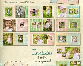 10x10 Album template for photographers - Vintage Gingham Album