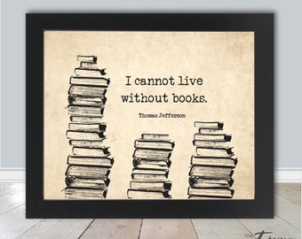 Vintage Bibliophile Quote Print, Thomas Jefferson, INSTANT Download 8x10 Printable, Typewriter Print, Book Lover Gift, Bookworm, Library Art