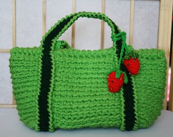 Hand Crocheted Bag Lime Green with Strawberries