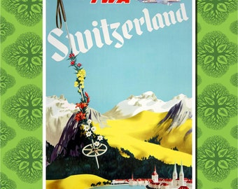 Switzerland Travel Poster Wall Decor (7 print sizes available)