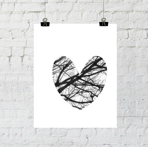 Love Sign, Black and White Heart, Tree Branch Art, Heart Wall Art, Romantic Wall Art, Romantic Prints, Heart Prints, Heart Art
