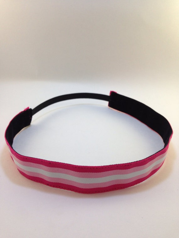 Hot pink, baby pink, & white striped non-slip headband for everyday and active wear
