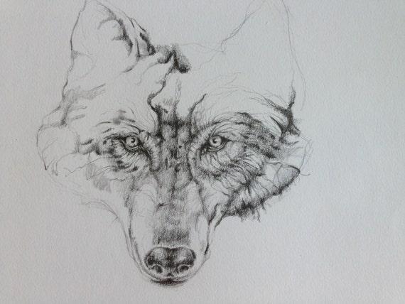Wolf Zeichnung in Bleistift A4 Illustration von Nivarts ...