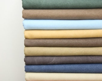 110 cm / 43 inch Width, Solid Washed Thick Strong Cotton Canvas Fabric for Bag Purse ETC, Thirteen Colors Available, Half Yard