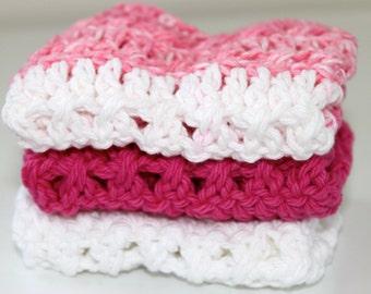 100% Cotton- Set of 3 Crochet Dishcloths - Bubblegum Pinks- Hostess/Wedding Gift- Ready to Ship