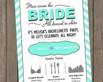 Printable Bachelorette Invitation - Melissa Turquoise